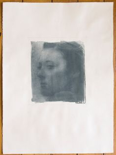 Portrait of a Poetess - Fine Art Photography. Large Gum Print. Pigmented Print. Steel Blue. Hand-made Gum Bichromate Print.