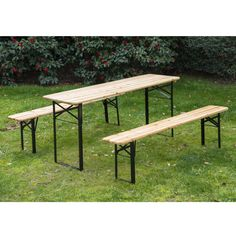 Outsunny 6ft Wooden German Style Folding Picnic Beer Garden Table Set W/benches