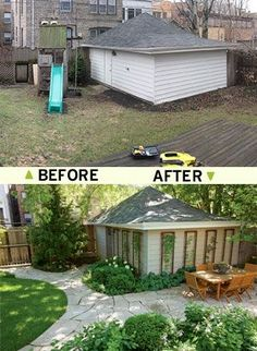 Urban Backyard Before After www.rodalesorgani...__ #shedplans More