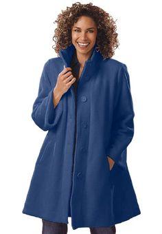 Woman Within Plus Size Jacket, Swing Style, In Cozy Fleece