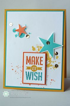 Make a Wish Gorgeous Grunge Stampin up Birthday Cards For Boys, Handmade Birthday Cards, Birthday Greeting Cards, Greeting Cards Handmade, Birthday Ideas, Star Cards, Card Tags, Paper Cards, Scrapbook Cards