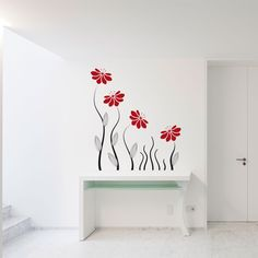 Flowers wall decal, Floral wall decal, Wall vinyl stickers, Floral design Wall decal, Nature wall decal, Vinyl wall decal, Wall art  172 by StickersForAll on Etsy https://www.etsy.com/listing/387067654/flowers-wall-decal-floral-wall-decal