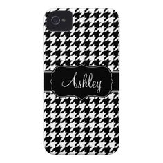 Houndstooth Pattern with Area For Name iPhone 4 Cover
