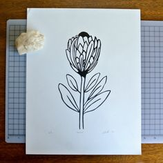 Items similar to Protea Linocut Print on Etsy Craft Stamps, Botanical Line Drawing, Nature Sketch, Art Ideas, Decor Ideas, Bloom Blossom, Hobby Ideas, Linocut Prints, Doodle Art