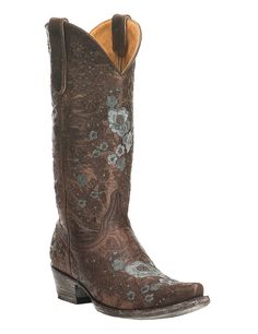 Old Gringo Women's Chocolate with Floral Pattern Western Snip Toe Boots | Cavender's