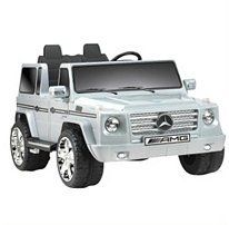 12v Mercedes Benz G55 AMG Ride-on - Silver by Mercedes. $532.49. The classiest ride-on ever made. This officially licensed Mercedes G55 12V battery operated ride-on has it all. Dual speeds (2.5 mph and 5.0 mph) with high speed parental lockout for safety. Real working FM radio with MP3 plug-in feature. Chrome front grille. Working horn with realistic SUV sound effects. Rear storage tire compartment. Adjustable seats. Authentic details. Adult assembly required. ...