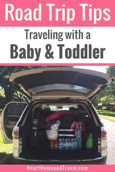 Going on a family vacation soon?  Check out these helpful road trip tips that will make traveling with a baby and toddler so much easier! via @hearthometravel * kids * travel * hacks