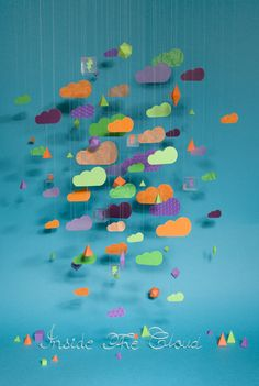 Idée de mobile de nuages colorés à réaliser avec les enfants !