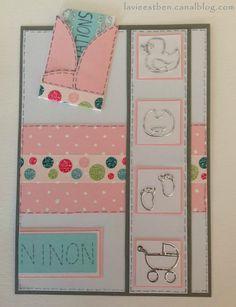 Scrapbooking carte simple 10 x 15 avec pochette carte naissance fille félicitations superpositions papiers