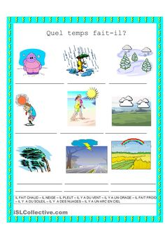 One-click print document Learning French For Kids, Teaching French, French Language Lessons, French Lessons, Weather Calendar, Time And Weather, Core French, French Teacher, Learn French