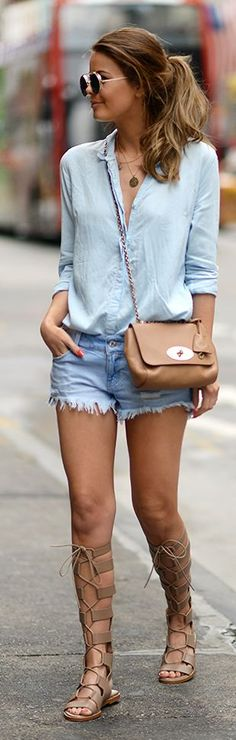 Chambray shirt with denim shorts and lace up sandals