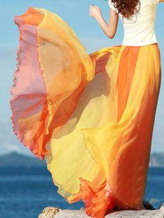 Orange Gradient Maxi Skirt