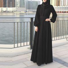 Black Fukuro Jersey Abaya Maxi Dress with Belt and Long Sleeves / Trendy Modern Abaya / Plus Size Black Collared Maxi Dress / Church Dress : Black Fukuro Jersey Abaya Maxi Dress with Belt and Long image 6 Abaya Mode, Mode Hijab, Abaya Fashion, Muslim Fashion, Burqa Designs, Modern Abaya, Hijab Style Dress, Hijab Outfit, Hijab Stile