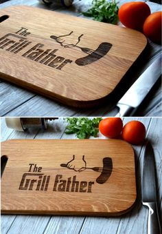 The grill father. Fathers day gift Housewarming gift Cutting board engraved personalized. For dad, father, husband. BBQ Birthday gift. by Enjoy The Wood on Gourmly