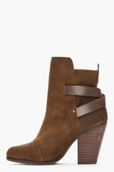 RAG & BONE Khaki suede and leather Kinsey Boot