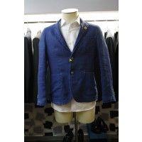 Luca Bertelli LB40309/X giacca uomo di colore jeans, 100% lino
