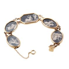 Georgian Era Painted Bracelet, Paintings symbolic of Love, Loyalty and Loss on Velum. in 15k Gold plaques. Circa 1800