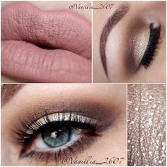 Shimmer champagne eye makeup, this is the look im going to create for the wedding! Love doing makeup :) Prom Makeup, Cute Makeup, Pretty Makeup, Wedding Makeup, Makeup Goals, Makeup Inspo, Makeup Inspiration, Makeup Tips, Makeup Ideas
