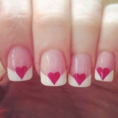 Manicure nail art is the most famous ans preferred form of nail art. Check out some ideas and techniques to do manicure nail art. Love Nails, Fun Nails, Pretty Nails, Dream Nails, French Nails, Valentine Nail Art, Christmas Nail Art Designs, Valentine's Day Nail Designs, Manicure Y Pedicure