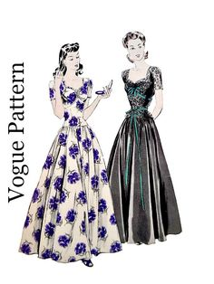 40's Evening Dress Drop Waist Sweetheart Neckline Detachable Peplum Full Skirt Vintage Vogue 9673 Sewing Pattern Non Printed Size 18 by VintageNeedleFinds on Etsy https://www.etsy.com/listing/218043262/40s-evening-dress-drop-waist-sweetheart