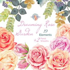 Watercolor Dreaming Rose Garden Elements and Wreaths, Flowers Hand Painted, Floral, Wedding Invitation, Greeting Card, DIY Clip Art