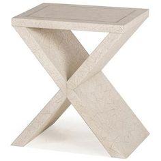 Eva Modern Classic Antique Ivory Cross Base Side Table. #kathykuohome