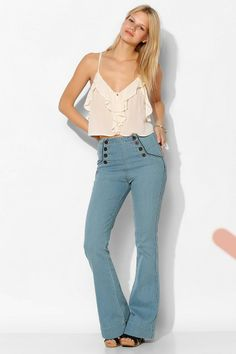 BDG High-Rise Sailor Flare Jean - Jacob Wash #urbanoutfitters