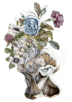 Bologna-based Italian artist Nunzio Paci (previously here and here) produces hauntingly detailed paintings that combine anatomical renderings with multi-colored blossoms and leaves. His latest series, Mimesis, is inspired by the idea of species evolving together over time, and the similarities share