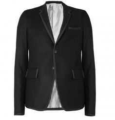 """Thom Browne Grosgrain-Trimmed Flannel Blazer $2,590 at Mr. Porter"""