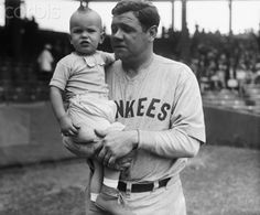 Babe Ruth Holding Infant Actor 1927