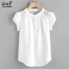 SheIn offers Eyelet Embroidered Panel Petal Sleeve Blouse & more to fit your fashionable needs. Spieth Und Wensky, Petal Sleeve, Ruffle Sleeve, Mode Shop, Blouse Online, Shirts Online, How To Roll Sleeves, Plus Size Blouses, Women's Blouses