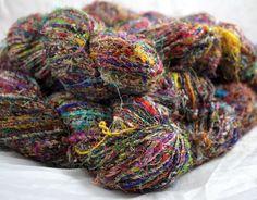 Recycled Sari Fiber Yarn | fair trade hand spun in India