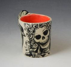 Black and white bird cup with black birds and skull by PSPorcelain