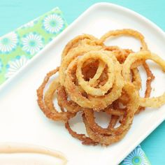 Low carb and gluten free onion rings - crunchy on the outside, soft and sweet on the inside.