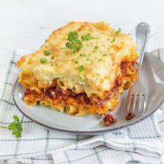 Griekse pasticcio Paste Recipe, Healthy Recipes, Healthy Food, Vegetarian, Pasta, Ethnic Recipes, Bella, Om, Pizza