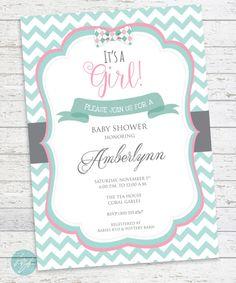 Baby Shower Invitation Chevron Baby Shower Bow by FlairandPaper
