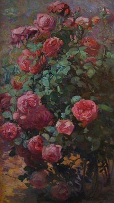 The Rose Bush, is by Franz Bischoff (1864-1929), and is 40 x 24 inches, oil on canvas.