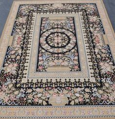 10'x14' Hand-woven Roses Blue Ribbon Wool French Aubusson Flat Weave Black Rug