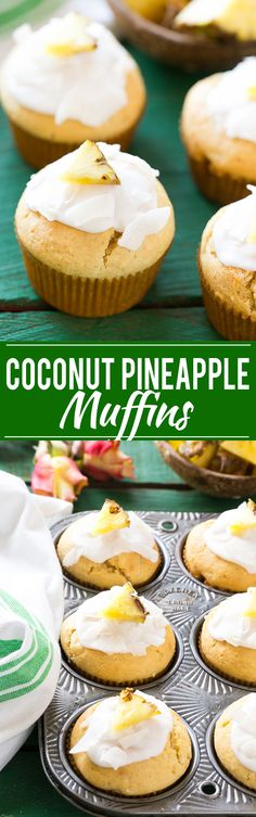 These coconut pineapple muffins are a lightened up treat with less fat and sugar than the original version. They're the perfect snack or breakfast to pair with a cup of tea. #MeAndMyTea Ad