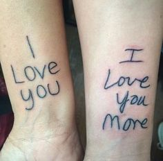 Inked in the other's handwriting, this mom and daughter really captured our hearts with their incredible tattoos.