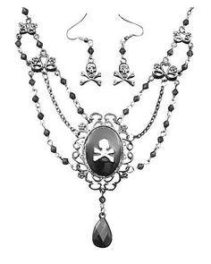 Pirate Cameo Necklace and Earring Set | Jewelry Accessories & Makeup for Halloween Costumes ($16.99)