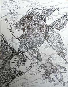 A fun art community for artists of all abilities & interests! Join us & share your art. Colouring Pages, Adult Coloring Pages, Coloring Books, Doodles Zentangles, Zentangle Patterns, Drawn Fish, Zen Colors, Tangle Art, Mermaids And Mermen
