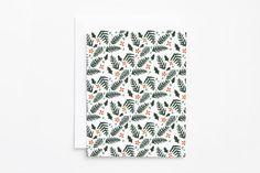 Christmas Card Set | Illustrated Botanical Pattern Christmas Cards : Winter Green Holiday Card Set