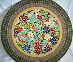 Mosaic Table with flowers in centre