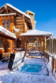 Take her somewhere this winter! The Yellowstone Club, Big Sky, Montana Snow Cabin, Winter Cabin, Yellowstone Club, Haus Am See, Log Home Decorating, Decorating Kitchen, Cabin In The Woods, Cabins In The Snow, Cabins In The Mountains