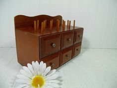 Mid Century Walnut Brown Wood Artisan's Two Drawer Storage Chest with Spindles - Vintage Crafter and Seamstress Tools & Notions Wood Cabinet $28.00 by DivineOrders