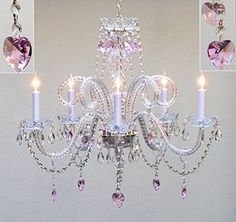 "Swarovski Crystal Trimmed Chandelier! Chandelier Lighting With Crystal Pink Hearts H25"" X W24"" - Perfect For Kids' And Girls Bedrooms! - Go-A46-Hearts/387/5/Pink Sw"