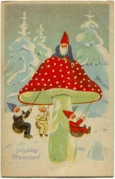 Image result for paintings of fairies and gnomes playing on swings