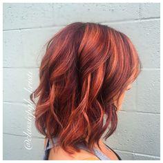 Red dimensional hair color lob haircut
