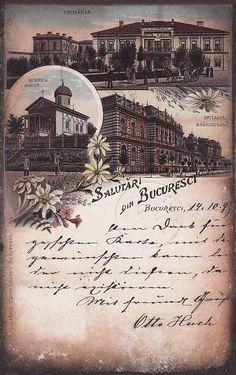Bucuresti - Primaria, Biserica Bucur si Spitalul Brancovenesc  anii 1900